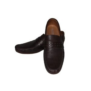 JOHN VARVATOS brown leather loafers size 11 ITALY
